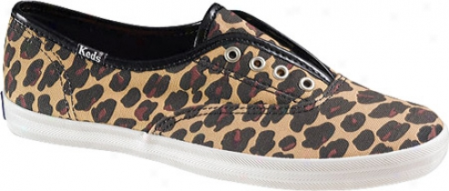 Keds Champion Animal Print Laceless (women's) - Leopard Printed Canvas