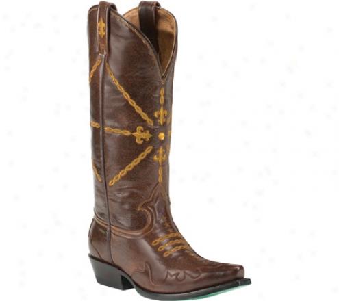 Alley Boots Fleur De Lis (women's) - Brown Leather