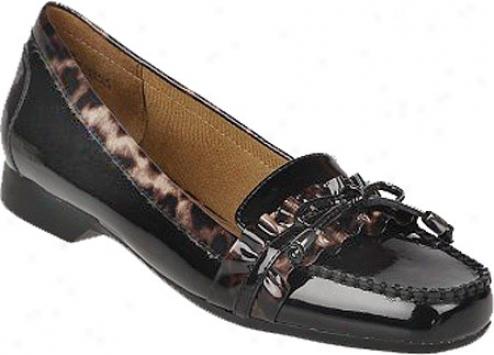 Life Stride Emily (women's) - Black Gleam Shiny/brown Leopard