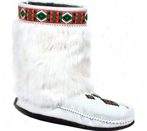 Manitobah Mukluks Half Trim CrepeS ole Mukluk (women's) - White Nappa Leather/rabbit Fur