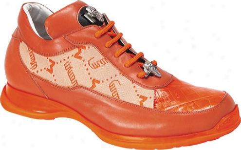 Mauri 8900-2 Fabric (men's) - Orange Fabric/nappa L3ather/baby Crocodile