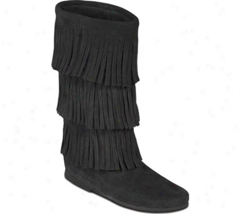 Minnetonka 3 Later Fringe Boot (women's) - Black Suede