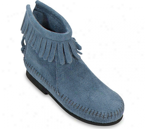 Minnnetonka Back Zipper Boot Hardsole (children's) - Storm Blue Sued