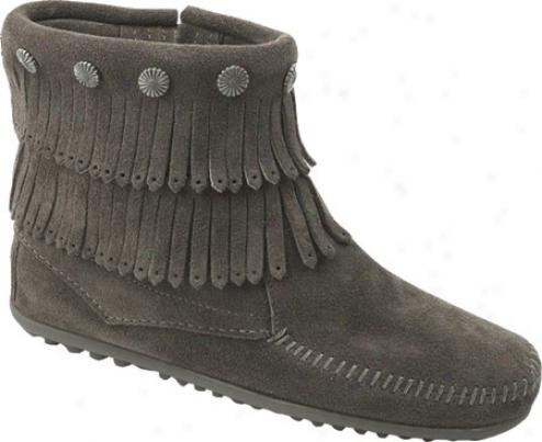 Minnetonka Twice Fringe Side Zip Boot (women's) - Grey Suede