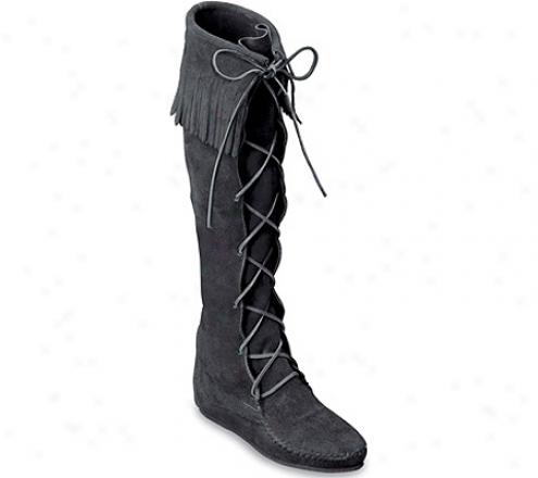 Minnetonka Front Lace Hardsole Knee Hi (men's) - Black Suede