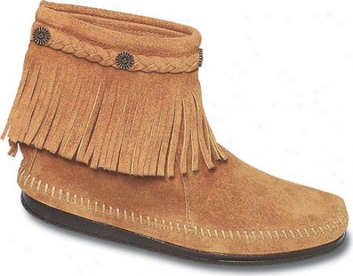 Minnetonka Hi Top Back Zip Boot (women's) - Tan Suede