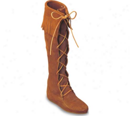 Minnetonka Knee High Fringe Boot (women's) - Medium Brown