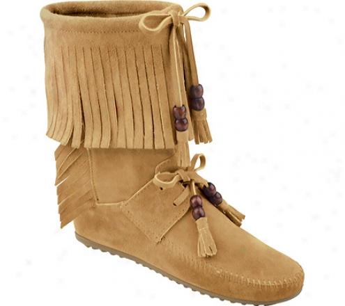 Minnetonka Woodstock Fringe Boot (women's) - Tan Suede