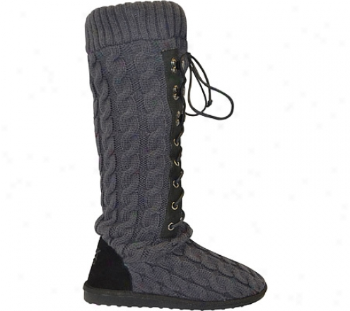 Muk Luks Cable Knit Lace Up Boot (women's) - Steel