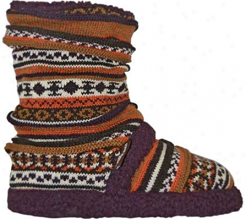 Muk Luks Fairisle Scrunch Bootie (women's) - Purple Punch