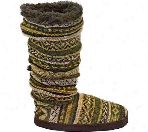 Muk Luks Fur Lineed Fairisle Toggle Boot (women's) - Soldiery