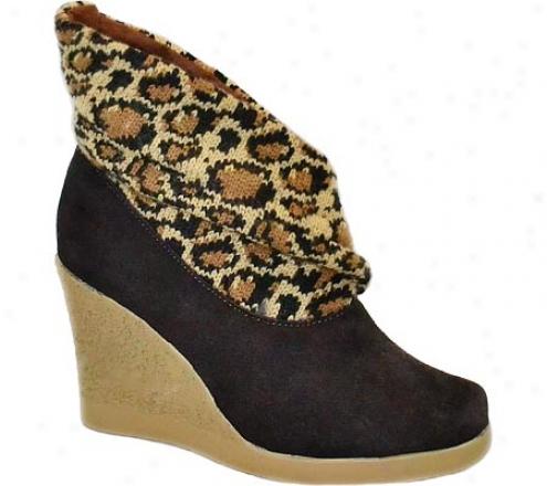 Muk Luks Leopard Knit Leather Wedye (women's) - Java
