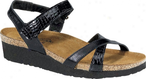 Naot Alexis (women's) - Black Madras Leather/black Reptile Patent Leather