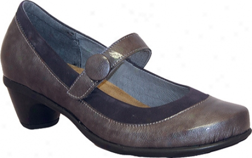 Naot Trendy (women's) - Grey Patent Leather/navy Nubuck