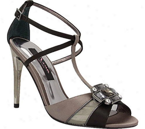 Nina Caskade (women's) - Chocolate Satin/metallic Mesh/foil Kid