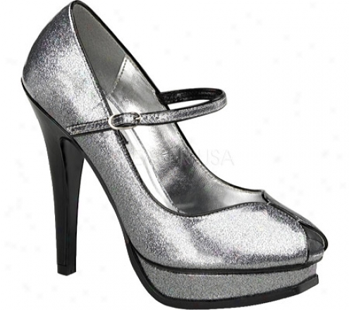 Pin Up Pleasure 02g (women's) - Silver Pearlized Glitter Patent Leather