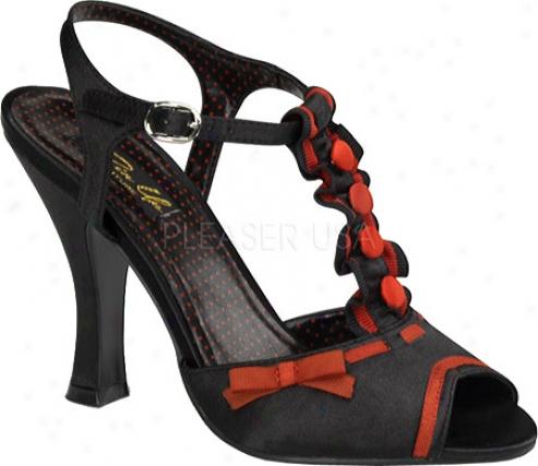 Pin Upp Smitten 07 (women's) - Black/red Satin