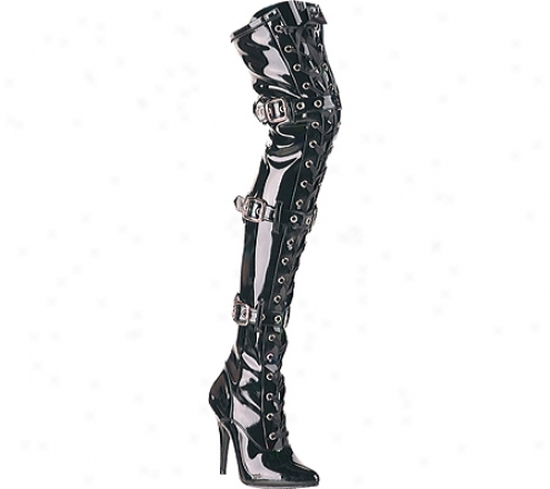 Pleaser Seduce 3024 (women's - Black Stretch Patent