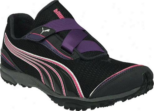Puma Lakyos 2 V (women's) - Black/heliotrope/fluo Pink