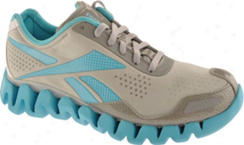 Reebok Zig Pulse Ii (women's) - Light Grey/white/neon Blue