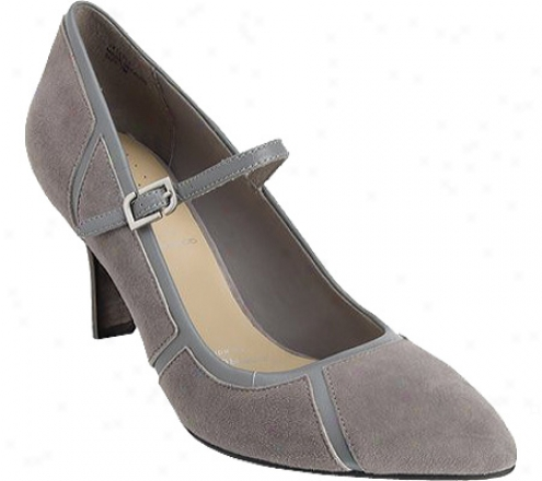 Rockport Lianna Angular Mj (women's) - Grey Heather Suede/smooth Calf