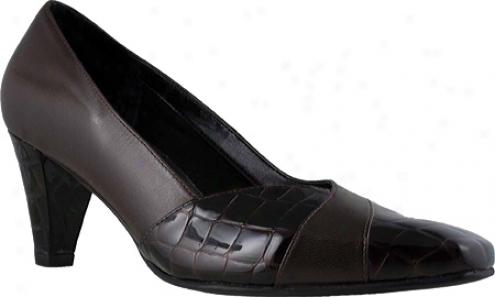 Ros Hommerson Vale (women's) - Brown Kidskin/croc Patentt