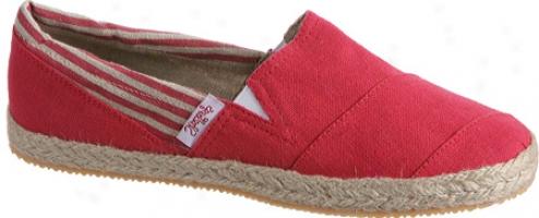 Shoestrings Chicama (women's) - Dark Red/natural Linen