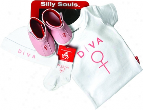 Silly Souls Diva 4-piece Gift Immovable (nfant Girls') - White/pink