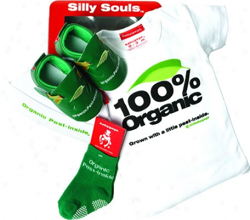 Silly Souls Organic Pest In-side 4-piece Gift Set (infants') - Kelly Green/white