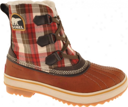 Sorel Tivoli Plaid (women's) - Moccasin/chili