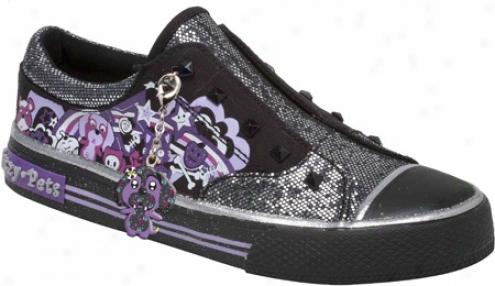 Stride Rite Glitzy Pets Pebbles (girls') - Black/violet Pinted Canvas