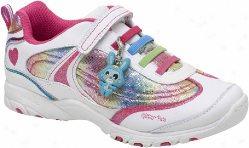 Stride Rite Glitzy Pets Starr (girls') - White/multi Leather/mesh