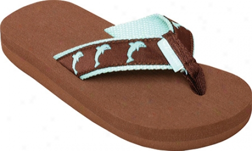 Tidewater Sandals Dolphins (girls') - Chocolate/turquoise