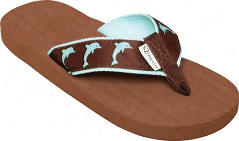 Tidewater Sandals Dolphins (women's) - Chocolaate/turquoise