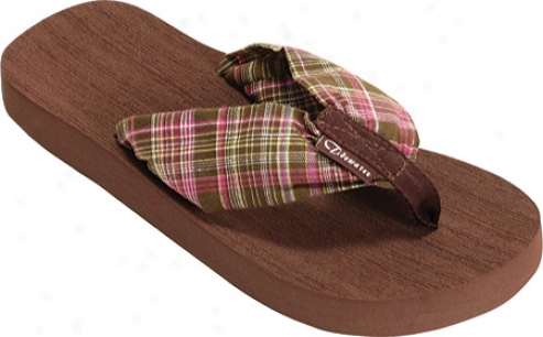 Tidewater Sandals Outer Banks Pllaid (women's) - Chocolate/pink/green