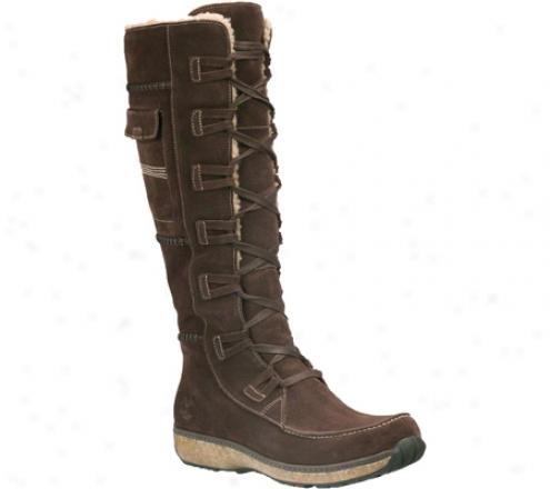 Timberland Earthkeepers Granby High Zip Boot (women's) - Dark Brown Waterproof Silk/suede
