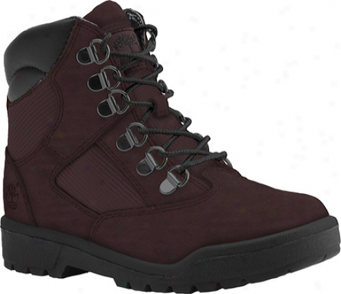 """timberland Field Boot 6"""" Leather And Fabric (boys') - Burgundy Leather/mesh"""