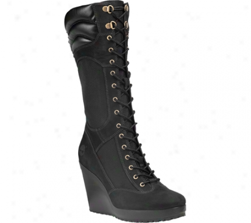 """""""timberland Srping Point 12"""""""" Field Boog (women's) - Black/black Leather/fabric"""""""