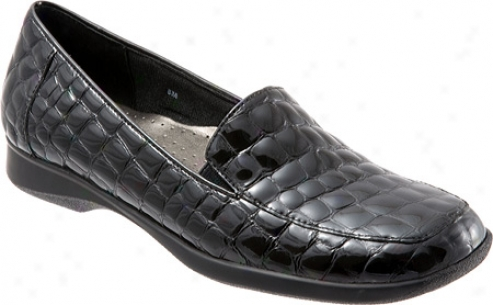 Trotters Jenn Croco (women's) - Black Croco Patent Leather