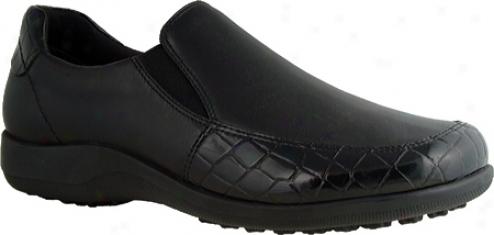 Walking Cradles Andie (women's) - Black Nappa Leather /croc Patent