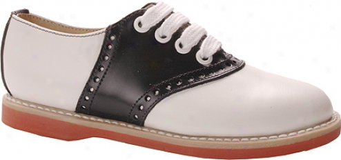 Willits Classic Saddle (girls') - White/black W/coral Sole