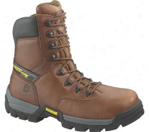 """wolverine Guardian 8"""" Carbonx Safety Toe Slip Resistant Work (men's) - Brown Completely Grain Leather"""