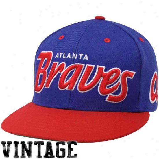 '47 Brand Atlanta Braves Royal Blue-rrd Retro Script Snapback Adjustable Hat