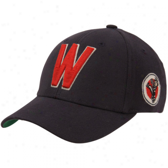 47 Thunderbolt Washington Senators Tradition Cooperstown Wool Stretch Flex Hat - Navy Blue