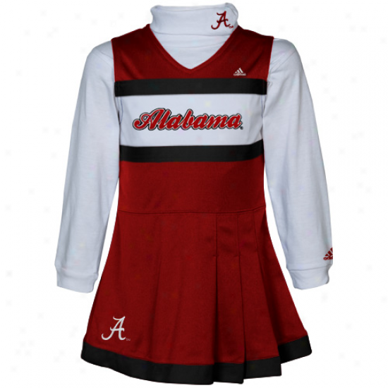 Adidas Alabama Crimson Tide Youth Girls Cromson-white 2-piece Turtleneck & Cheerleader Dress Set
