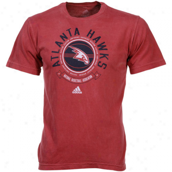 Adidas Atlanta Hawks Red Off The Bench Pigment Dyed T-shirt