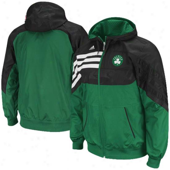 Adidas Boston Celtics Green-black On-court Pregame Full Zip Hoodie Jacket