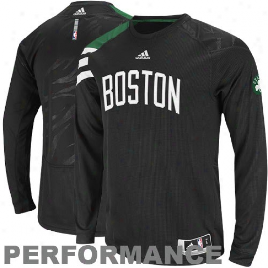 Adidas Boston Celtics On-court Sholter Long Sleeve Performance T-shirt - Black