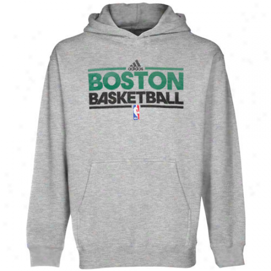 Adidas Boston Celtics Youth Ash Practice Pullover Hoodie Sweatshirt