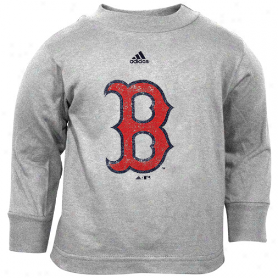 Adidas Boston Red Sox Toddler Distressed Logo Long Sleeve T-shirt - Ash